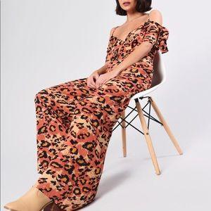 Leopard Print Wide Leg Bardot Jumpsuit